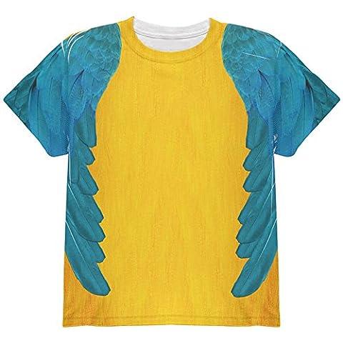 Halloween-blau & gelb Papagei Ara Kostüm auf der ganzen Jugend T Shirt Multi YSM (Kind Blau-ara-kostüm)