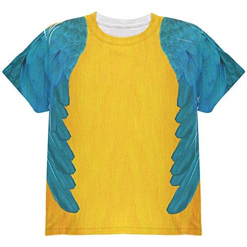 Halloween-blau & gelb Papagei Ara Kostüm auf der ganzen Jugend T Shirt Multi YSM (Kind Blau Ara Kostüm)