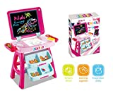 Vikrida 2 in 1 Learning Desk & Magnetic Easel Chalkboard (Pink)