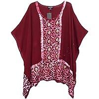 4ab72726d193b Un-Poco Red Burgundy Wine Kaftan Tunic Top Beach Cover up Plus Size 16 to