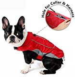Morezi Premium Outdoor Sport Waterproof Dog Jacket Winter Warm Large Dog Coat with Harness Hole Red - M