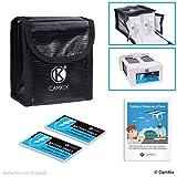 CAMKIX Paquete de Seguridad de Viaje Compatible con dji Phantom 4 - para 2 baterías - Incluye: Bolsa de Seguridad LiPo, 2X Cubierta de Puerto de batería e Instrucciones de Viaje