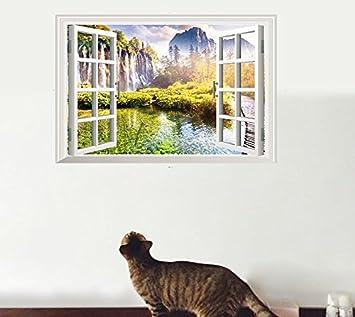 Die Zimmer Und Bder Wohnzimmer Wand Deko Poster Windows Querformat Stereoskopischen 3D Effekt Wandaufkleber