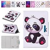 E-Mandala 10 Zoll Hülle Leder Flip Case Tablet PC Tasche mit Kartenfach Ledertasche Lederhülle - Panda