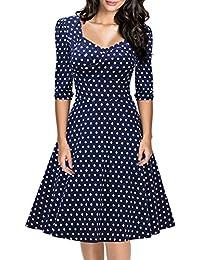 Miusol Damen Elegant Kurzarm Business Rockabilly Cocktailkleid retro 50er Jahre Party Stretch Kleid Rot EU 36-48