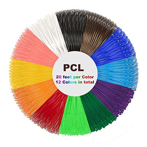 Tipeye PCL Filament Pack - 3D Stift Filament 1.75mm 12 Farbe 6m Pro Farbe 3D Druck PCL Filament für 3D Druck Pen 3D Drucker-Stift(Nur für Niedrige Temperatur 3D Stift)