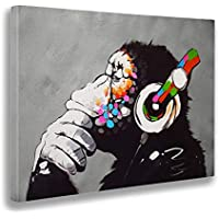 Giallo Bus 1206 Quadro Stampa Su Tela Canvas, Banksy, Dj Monkey, 50 x 70 cm