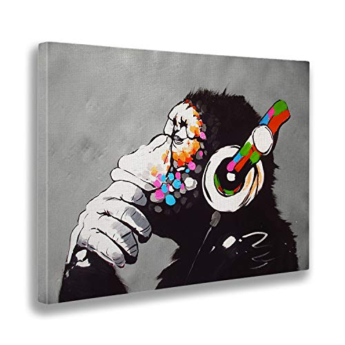 Giallo bus 1206 quadro stampa su tela canvas, banksy, dj monkey, 50 x 70 cm