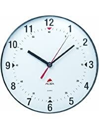 Alba Horclas, Reloj de Cuarzo Clásico de Pared, Plástico, Negro y Blanco,