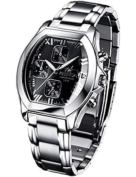 FIREFOX NEBUKADNEZAR FFS175-102a sunray schwarz Damenuhr Armbanduhr Chronograph massiv Edelstahl Sicherheitsfaltschließe...