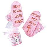 Kuschelige Damen Wein-Socken, Anti-Rutsch-Aufschrift