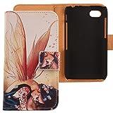 Lankashi PU Flip Leder Tasche Hülle Case Cover Handytasche Schutzhülle Etui Skin Für BlackBerry Q5 4G LTE Wolf Design