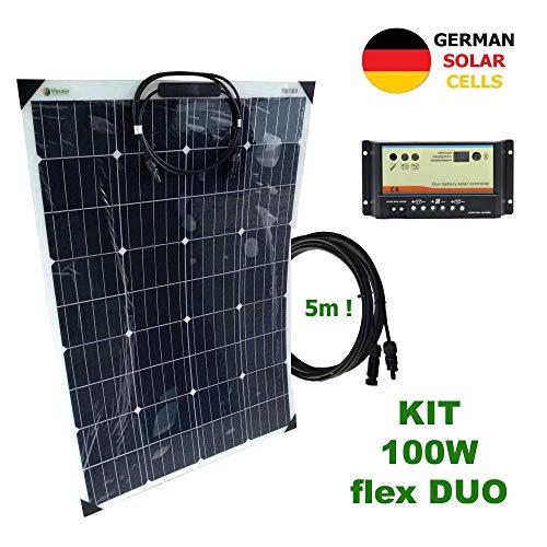 Kit 100W flex DUO 12V panel solar semi-flexible células alemanasComposición del Kit Solar:Panel solar semi-flexible 100W 12V células alemanasRegulador solar 10A DUO para 2 baterías independientes 12V/24VPar de cable solar de 4m y 4mm2 con 1 conector ...
