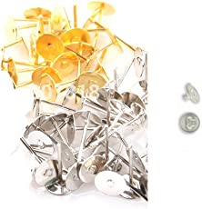 Udhayam Gold/Silver Finish Stud Head Pin And Earring Rubber Back Bush For Jewellery Making Kit