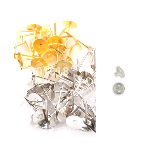 Udhayam Gold/Silver Finish Stud Head Pin And Earring Rubber Back Bush For...