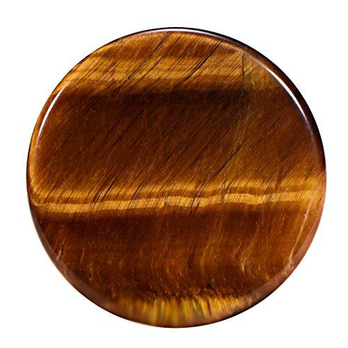 Morella Damen SMALL Coin 23 mm Edelstein Tigerauge Chakren Scheibe Halsketten Anhänger und zur Stärkung