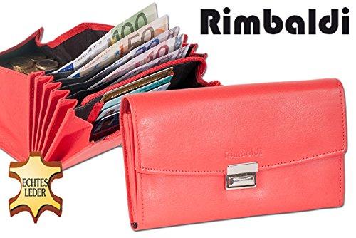 Rimbaldi - Senior Kellnerbörse con cassa in più moneta rinforzato in morbida pelle di vitello trattata Rosso