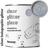 Hemway - smalto trasparente grigio olografico con glitter per pareti e soffitti preverniciati - pitture a emulsione, acriliche, lattice, legno, vernice, opaca, semi lucida o lucida - 1 litro