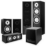 auna Black-Line 5.1 Heimkinosystem Soundsystem (2 x Standlautsprecher, 2 x Regallautsprecher, Centerbox, Subwoofer, 150 Watt RMS Leistung) schwarz