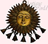 Antiques World Indian Mythology Surya Dev Antique Rare Hanging Sun Face Wind Chime with Bells Temple Bell AWUSABI 013