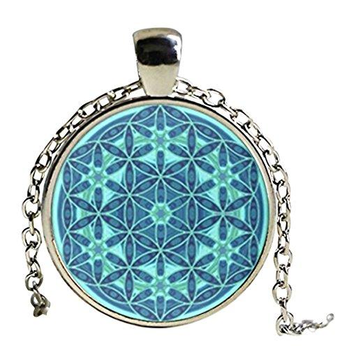 Collier pendentif mandala/fleur de vie avec dôme en verre