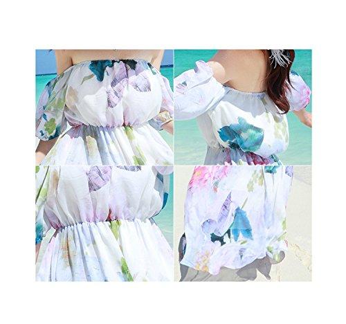 Bigood Robe Longue Femme Mousseline de Soie pour Plage Voyage Mode Multicolore