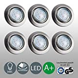 LED Einbaustrahler schwenkbar inkl. 6 x 3W Leuchtmittel 230V GU10 IP23 LED Deckenstrahler...