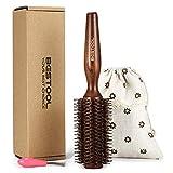 BESTOOL Brosse à cheveux avec poils de sanglier et nylon pour cheveux Styling, séchage, Curling, ajoutant du volume des cheveux et Shine (brosse ronde) (1.1 inch)
