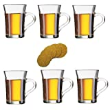 Viva Haushaltswaren 6 dickwandige Latte Macciato Gläser mit Henkel 230 ml, Gläser Set ideal als Teegläser/Kaffeegläser/Glasbecher verwendbar (inkl. 6 Korkuntersetzer)