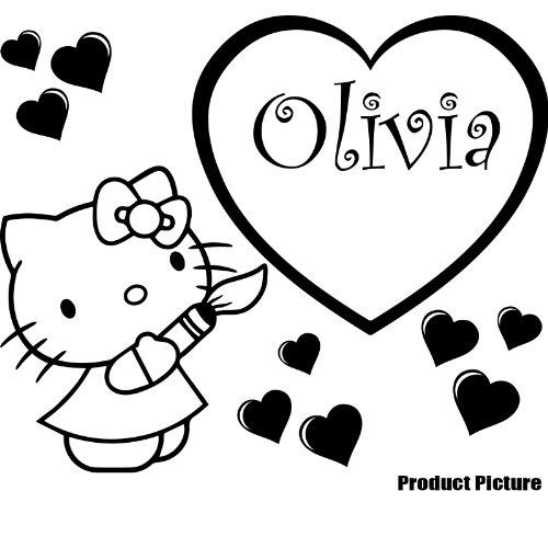 Hello Kitty, Herz mit Ihrem gewählten Namen 60cm x 50cm Farbe wählen 18Farben auf Lager Namen, Name personalisiert, Childs Schlafzimmer, Kinder Zimmer Aufkleber, Auto Vinyl-, Windows und Wandtattoo, Wall Windows Art, Decals, Ornament Vinyl Sticker ThatVinylPlace (Hello Kitty Window Decal)