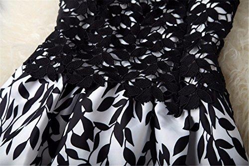 Femmes sans manches en dentelle Mesh creux Big Swing Party Dress Casual Noir