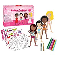 Fashion Designer Set - 4 Dress Up Dolls and Clothes to colour