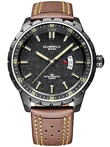 Alienwork Quarz Armbanduhr Multi-funktion Uhr Herren Uhren sport Modernes Leder gelb braun