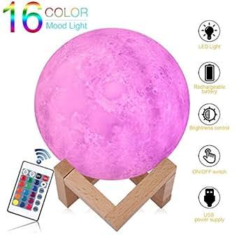 Lampada Lunare 3D con Telecomando,Notturna Lampada da Comodino con Usb Ricaricabile,  Lampada Colorata Ottima per Bambino e Regalo (Diametro 15cm)