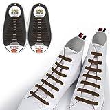 Totomo Lot de 20 Lacets de chaussures élastiques sans nœuds Taille Unique Silicone Lacets pour enfants et adultes - Marron - marron,