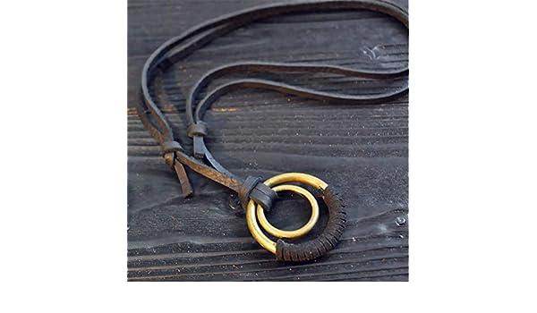 KJFUN Colliers pour Hommes en Cuir Pendentifs Bijoux Collier De Corde De Noeud R/églable Pendentif en Alliage De Zinc Noir