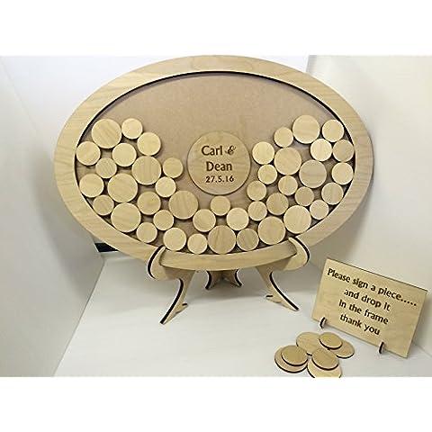 Personalizable Boda Libro de invitados (oro, ovalado Drop caja de madera 54aniversario de boda marco de fotos regalo de recuerdo de círculos rústico Shabby Chic 55x 37cm