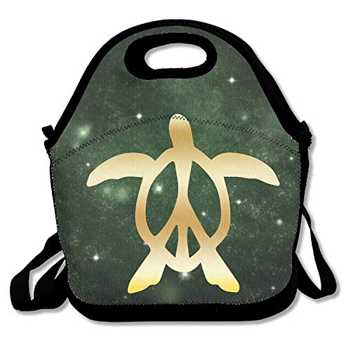 Peace Honu Hawaiian Sea Turtle Gold Logo Travel Tote Lunch Bag -
