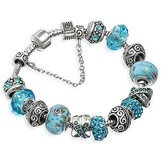 A TE Charm Bracelet Blue Crystal Murano Glass Beads Women JWB94