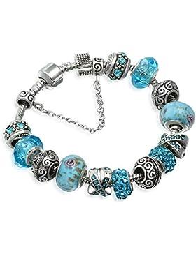 A TE® Armband Charms Blaue Kristalle Blume Glasperlen Damen Geschenk #JW-B94(18cm/20cm)