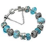 A TE Armband Charms Blaue Krsitalle Blume Glasperlen Damen Geschenk #JW-B94