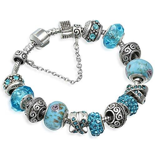A TE® Armband Charms Blaue Krsitalle Blume Glasperlen Damen Geschenk #JW-B94