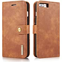 iPhone 5 5S SE Case,Premium [Magnetic Closure] Retro Vintage Detachable 2in1 Genuine Leather Card Slot Holder Folio Flip Wallet Removable PC Back Case with Kickstand Cover for iPhone 5/5S/SE - Brown
