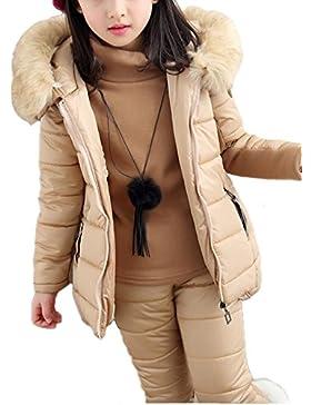 Chaqueta para niña 3 pics Chaqueta Con Capucha de Pelo Sintético de esquí para niño Pantalones de nieve y Suéter...