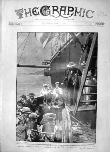old-original-antique-victorian-print-1900-general-cronje-ship-milwaukee-st-helena-doris-633m161
