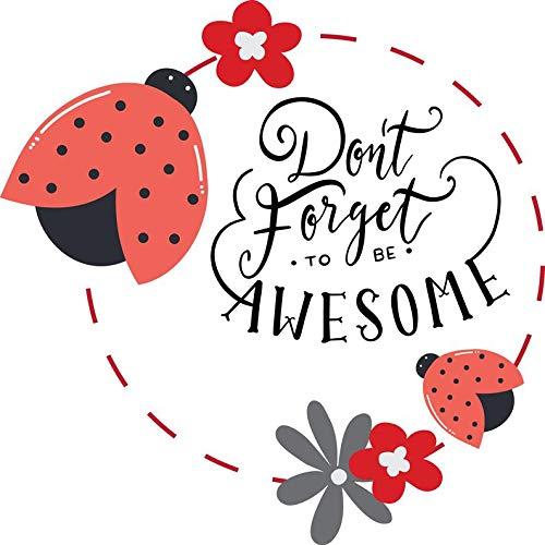"""Wandtattoo mit Marienkäfer-Zitat""""Don't Forget to be Awesome"""" (englischsprachig), englischer Text, Blumen und Käfer, bunt"""