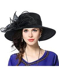 Dafunna Pamela ala ancha y flores Organza Seda Derby Church Sombrero de Sol  para Mujer Boda ... c1cde1fb630b