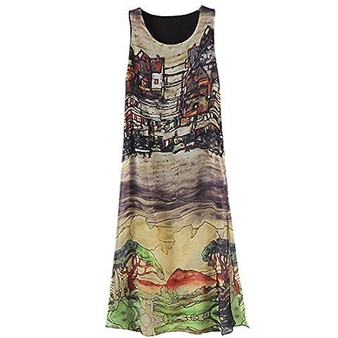 JXLOULAN Summer Womens Sleeveless Printed Vintage Slit en mousseline de soie robe de plage Sundresses (L)