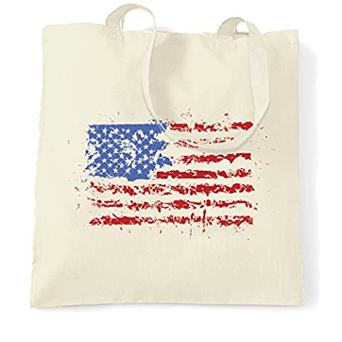 American Flag Paint Splat USA Stars Stripes America Print Design Cool U.S.A And Go Printed Logo Military Patriot Veteran School College Splatter Shopping Tote Bag Cool Birthday Gift