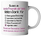 vanVerden Tasse Beste Freundin der Welt! Vielen Dank für Alles. inkl. Geschenkkarte, Farbe:Weiß/Pink